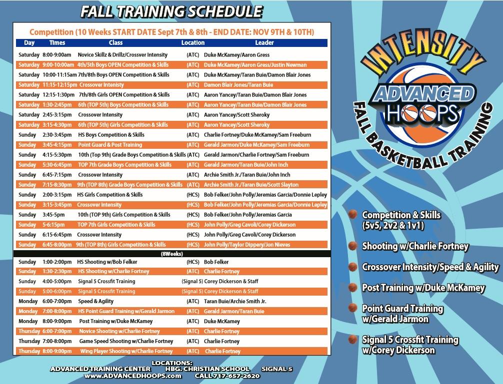 2019 Fall Training Program Schedule