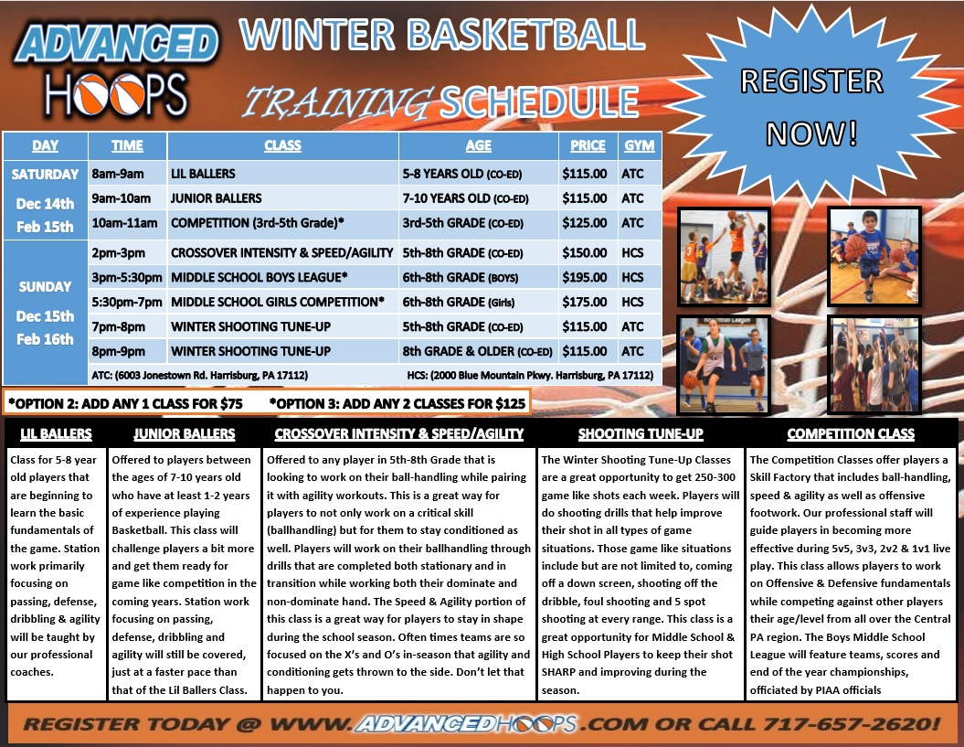 2019-2020 WINTER TRAINING PROGRAM SCHEDULE